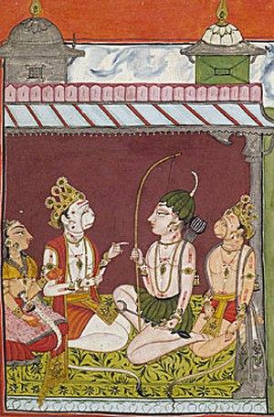 Tara (Ramayana) - Lakshmana Meets with Tara (leftmost), her husband Sugriva (2nd from left), and Hanuman (rightmost) in the Palace of Kishkinda