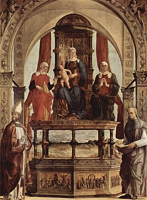 Peter Damian - Saint Peter Damian (far right), depicted with Saints Augustine, Anne, and Elizabeth