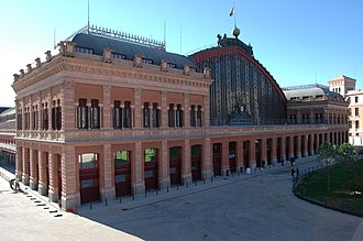 Atocha (Madrid) - Front view of Atocha Station at Plaza del Emperador Carlos V (Emperor Charles V Square)