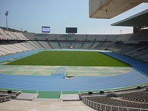Venues of the 1992 Summer Olympics - The Olympic Stadium after the 2010 remodeling for the European Athletics Championships. It hosted the athletic and ceremonies (opening/closing) for the 1992 Summer Olympics.