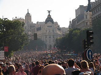 Europride in Madrid. In 2017 a summit on LGBTI human rights took place at the same time as World Pride celebrations. Europride 2007 Madrid.JPG