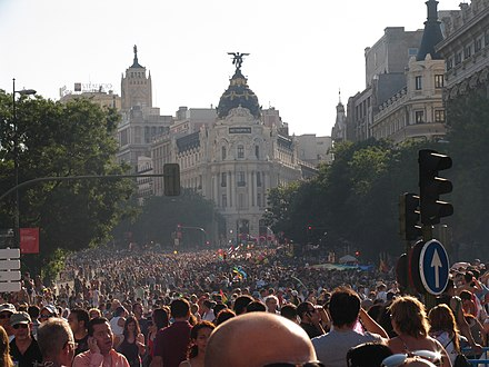 Europride in Madrid. In 2017 a Summit about LGBTI human rights took part at the same time as World Pride celebrations. Europride 2007 Madrid.JPG
