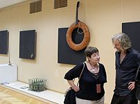 Exhibition of Sergey Shilo about Vladimir Vysotsky 10.09.2013 in Pushkin`s library, Minsk Larisa Finkelshtein 02.JPG