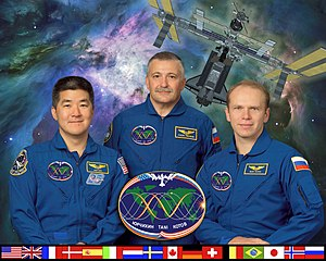 Expedition 15 - Original second portion of Expedition 15 crew portrait, from left to right: Daniel Tani, Yurchikhin, Kotov. Due to a change in schedule, Tani joined Expedition 16 in October 2007.