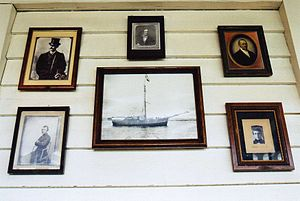 Colonel Hathi's Pizza Outpost - Photographs of Explorers displayed in the restaurant