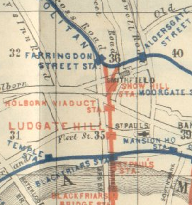 Extract of 1889 Railway Map Showing Ludgate Hill & Holborn Viaduct stations