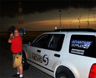 Eyewitness News - One of KOCO-TV's stormchasing vehicles outside the station's studios in Oklahoma City; as of April 18, 2013, KOCO no longer utilizes the Eyewitness News name (having rebranded as KOCO 5 News). The vehicle also features one of their Doppler radar brands.