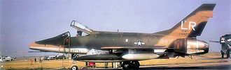 """492d Fighter Squadron - North American F-100D-90-NA Super Sabre Serial 56-3213 of the 492d TFS in Southeast Asia camouflage motif. Note the squadron colors being removed, being replaced by the """"LR"""" tailcode."""