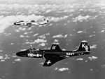 F2H-3 Banshees of VF-31 in flight over the Mediterranean Sea in January 1954.jpg