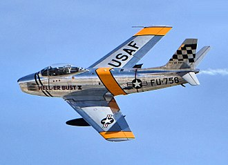 North American F-86 Sabre - A North American F-86 over the Planes of Fame Air Museum in Chino, California
