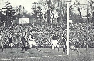 FA Cup - Harry Hampton scores one of his two goals in the 1905 FA Cup Final where Aston Villa defeated Newcastle United