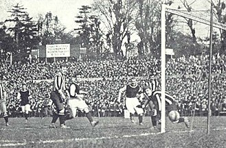 Newcastle United F.C. - Harry Hampton scores one of his two goals in the 1905 FA Cup final against Aston Villa