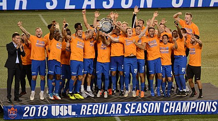 eb35d394a The players and staff celebrate clinching the 2018 USL regular season title