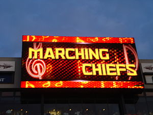 "Marching Chiefs - ""Marching Chiefs"" displayed on a Display Screen"