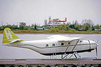 Fairchild F-11 Husky - Fairchild Husky of Harrison Airways operating on floats at Vancouver International Airport's seaplane base in 1973. This aircraft is ex Manitoba Government.