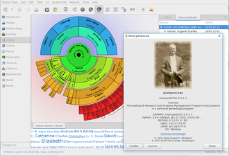 Gramps is an example of genealogy software. Fan-chart-example-gramps5.0.1win10.png