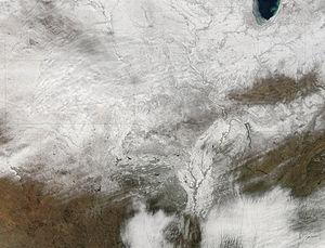 January 31 – February 2, 2011 North American blizzard - View of the U.S. midsection at 1:26 CST on February 10, 2011.