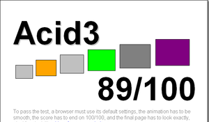 Acid3 - Acid3 rendered by Fennec 1.0 alpha 1. Buckets 2, 4, and 6 pass all 16 subtests, buckets 1 and 3 pass more than 10 subtests while bucket 5 passes more than 5 subtests.