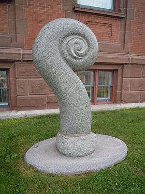 Fiddlehead fern - Fiddlehead sculpture at the Saint John Arts Centre by sculptor Jim Boyd in Saint John, New Brunswick, Canada