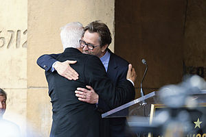 Malcolm McDowell - McDowell being embraced by Gary Oldman after receiving his star on the Hollywood Walk of Fame