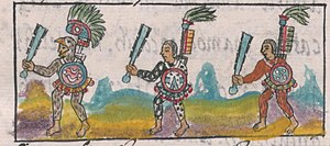 Eagle warrior - An Eagle warrior (left) depicted holding a macuahuitl in the Florentine Codex