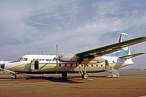 East-West Airlines (Australia) - East-West Fokker F27 Friendship at Sydney International Airport in April 1971.