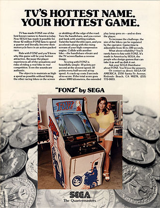 1970s in video gaming - 1976 flyer advertising the racing game Fonz.