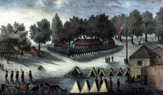 Seminole Wars - Barracks and tents at Fort Brooke near Tampa Bay