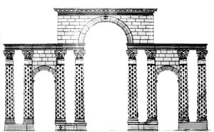 Forum of Theodosius - Reconstruction of the Triumphal Arch at the Forum, after Rudolf Naumann