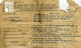 Fox News (1919–1930) - A portion of the original cameraman's information sheet for Fox News story 4914, which covered the Chicago Black Socks trial in 1920. The cameraman, Harry Birch, was Fox News' first Chicago staff cameraman.