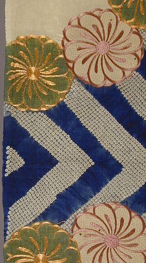 Shibori - Fragment of a Kimono (Kosode) with Tie-dyeing (kanoko shibori) and silk and metallic thread embroidery, 17th century