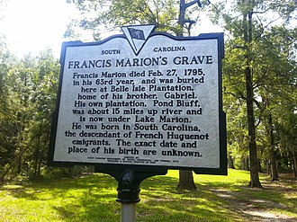 Francis Marion - Image: Francis Marion Historic Marker
