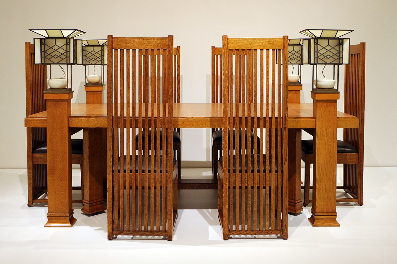 File Frank Lloyd Wright Tavolo Da Pranzo E Sei Sedie Da Robie House 1907 10 Ca 01 Jpg Wikimedia Commons