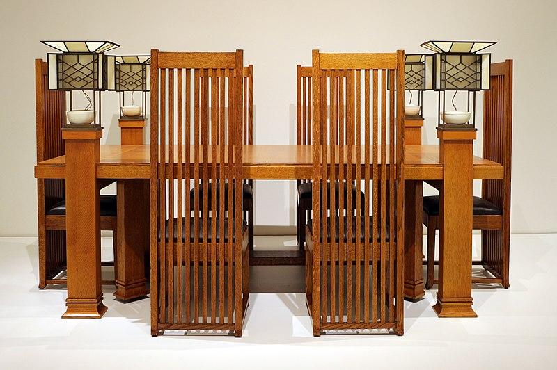 File:Frank lloyd wright, tavolo da pranzo e sei sedie, da robie house, 1907-10 ca. 01.jpg