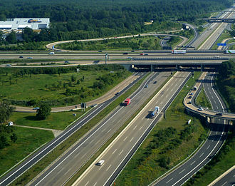Autobahn - A 3 and A 5 at Frankfurter Kreuz near Frankfurt am Main