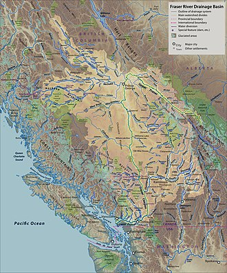 Fraser River - Map of the Fraser River drainage basin