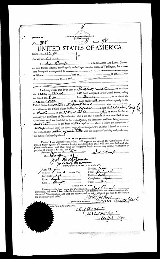 Frederick Trump - Passport application of Friedrich Trump, 1896