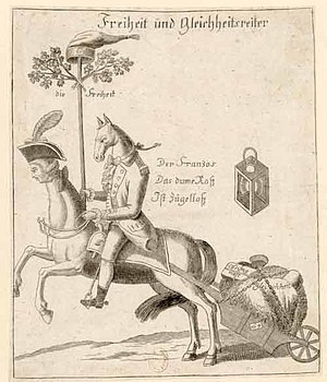 """Bildunterschrift: """"Der Franzos, das dume Ross, ist zügellos"""""""