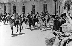 French Circassian Cavalry on their way to making surrender arrangements for the Axis forces. Damascus 1941.jpg