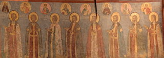 Frescos in Cathedral of the Archangel in Moscow - west wall 01.jpg
