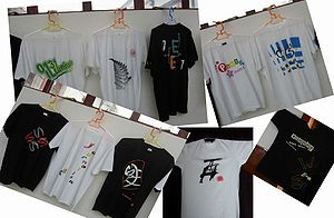 Fudan University - Graduation souvenir T-shirt, Class of 2005. Students from each department (or school) design their own souvenir T-shirts when they graduate.