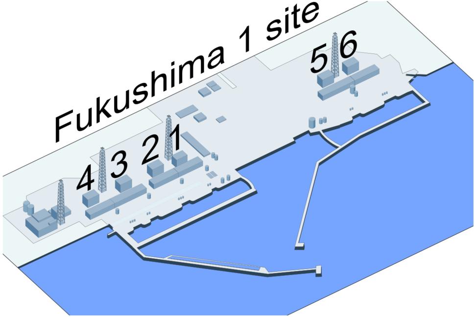 Fukushima I Nuclear Powerplant site close-up (wotext)