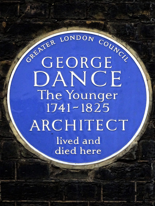 George Dance the Younger blue plaque - George Dance the Younger 1741-1825 architect lived and died here