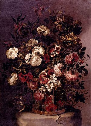 Gabriel de la Corte - Still-Life of Flowers in a Woven Basket by Gabriel de la Corte, private collection