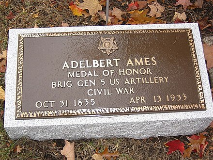 The Medal of Honor plaque at Ames' grave at the Hildreth family cemetery in Lowell, Massachusetts General Ames' Medal of Honor Plaque.jpg