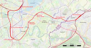 CEVA rail Railway line from Geneva, Switzerland to Annemasse, France