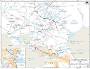 Italian Army in Russia - Map showing the Gariboldi ARMIR near the Don river, 200 km north of Stalingrad, in autumn 1942