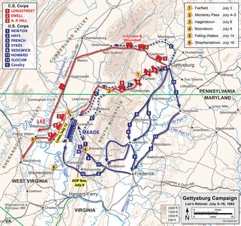 Battle Of Gettysburg Wikipedia - Gettysburg on us map