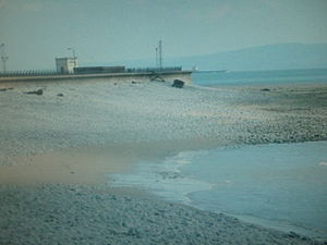 Aberthaw power stations - Image: Gileston Beach, with Aberthaw plant in view