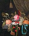 Gillis van Hulsdonck - Still life with a clock, a roll, fruit, and a silver salt cellar on a marble tabletop.jpg